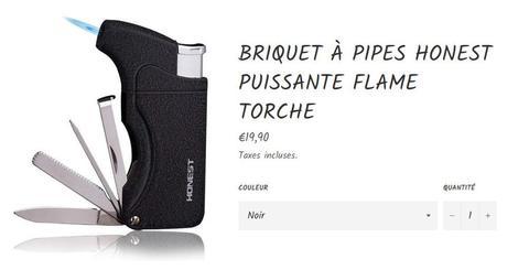 Briquet pour pipe flamme torche